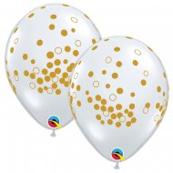 25 Ballons Impression Confettis Or