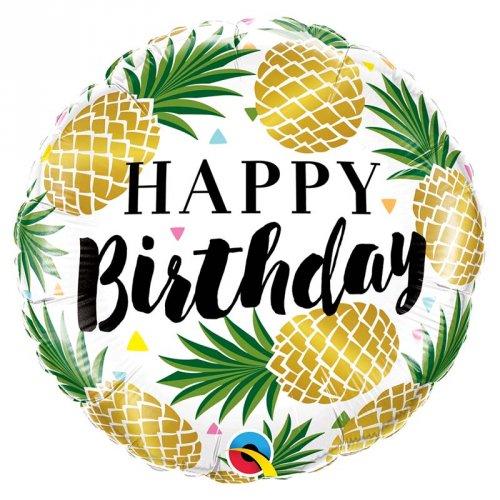 Ballon Gonflé à l Hélium Ananas Happy Birthday