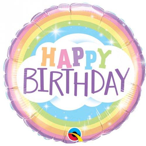 Ballon à Plat Happy Birthday Rainbow pastel