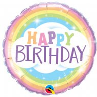 Ballon Hélium Happy Birthday Rainbow pastel