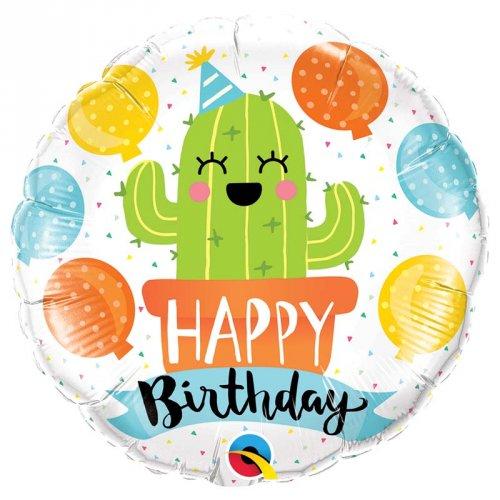 Ballon à Plat Cactus Kawaïï Happy Birthday