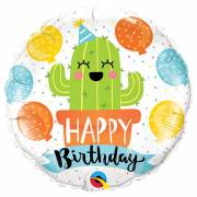 Ballon Gonflé à l'Hélium Cactus Kawaïï Happy Birthday