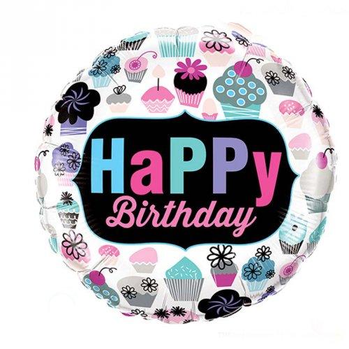 Ballon Hélium Happy Birthday Cupcakes