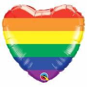 Ballon Gonflé à l'Hélium Coeur Rainbow