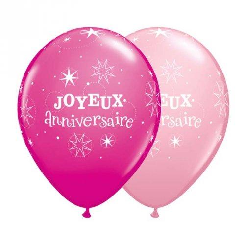 50 Ballons Joyeux Anniversaire Rose/Fuchsia