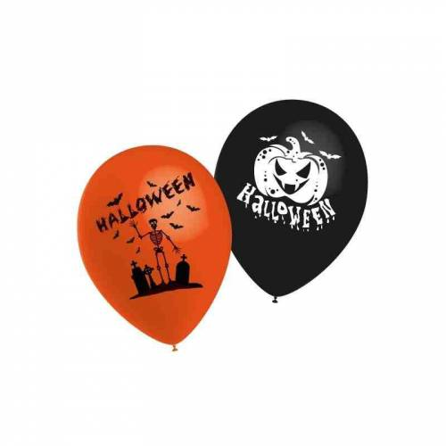 10 Ballons Halloween Orange & Noir