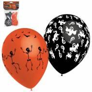 8 Ballons Squelettes et Fantômes Orange & Noir