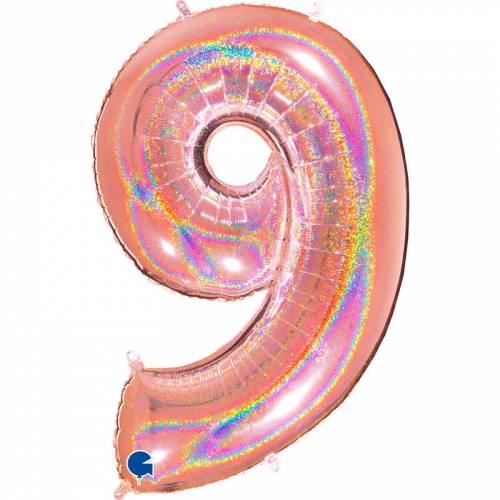 Ballon Géant Chiffre 9 Holographique Rose Gold (102 cm)