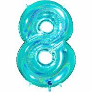 Ballon Géant Chiffre 8 Holographique Tiffany (102 cm)