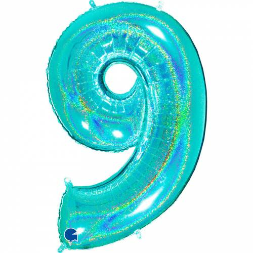 Ballon Géant Chiffre 9 Holographique Tiffany (102 cm)