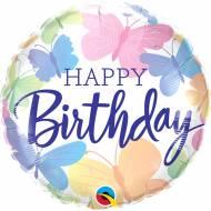 Ballon Hélium Papillon Pastel Happy Birthday