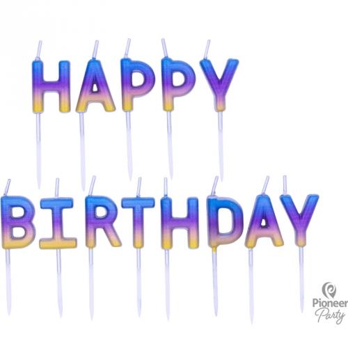 Bougies Happy Birthday Rainbow Ombré