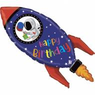 Ballon Géant Fusée Happy Birthday - 102 cm