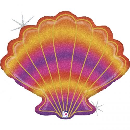 Ballon Géant Coquillage Holographique Glitter - 76 cm