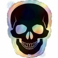 Ballon Géant Tête de Mort Rainbow Holographique - 69 cm