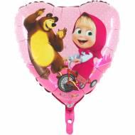 Ballon Hélium Coeur Masha et Michka