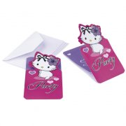 6 Invitations Charmmy Kitty Coeur