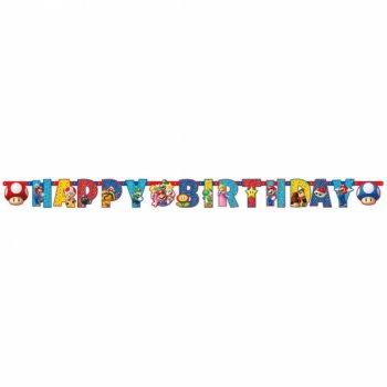 Guirlande Happy Birthday Mario Party (1,90 m)