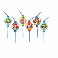 Contient : 1 x 8 Pailles Mario Party