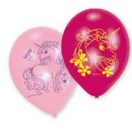 6 Ballons Licorne Rose/Fuchsia/Bleu