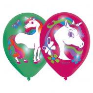 6 Ballons Licorne Rose/Vert
