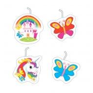 4 Petites Bougies Licorne Rainbow (7 cm)