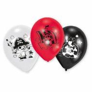 6 Ballons Petit Pirate Rouge/Blanc/Noir