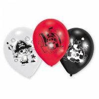 Contient : 1 x 6 Ballons Petit Pirate Rouge/Blanc/Noir