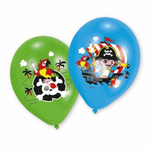 6 Ballons Petit Pirate Vert/Bleu