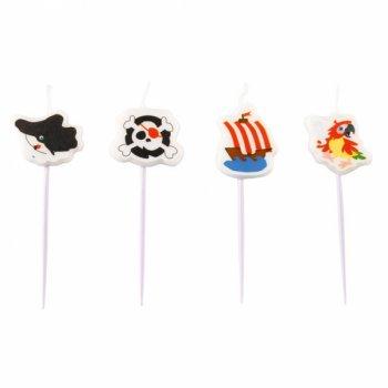 4 Petites Bougies Pirate et ses amis (7 cm)
