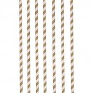 12 Pailles Papier Rayures Chocolat