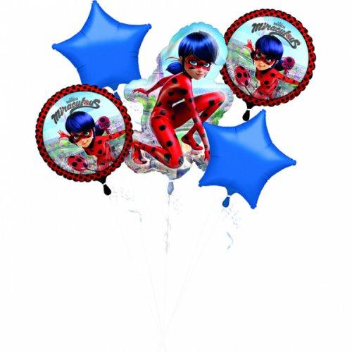 Bouquet de 5 Ballons Ladybug Miraculous (43, 48 et 86 cm)