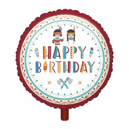 Ballon à plat Happy Birthday - Indiens et Tipi