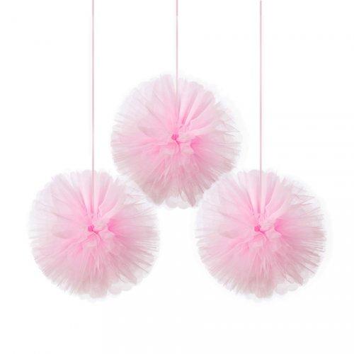 3 Boules Déco Ballerine (30 cm) - Tulle Rose