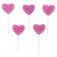 5 Mini Bougies Coeurs Rose Glitter