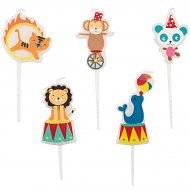 5 Mini Bougies Cirque Animaux
