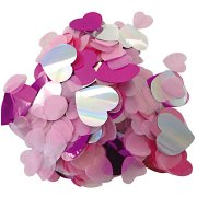 Confettis Mix Coeurs - Rose/Fuschia/Iridescent