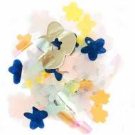 Confettis Mix Fleurs - Bleu