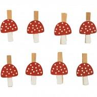 8 Pinces Champignons- Bois