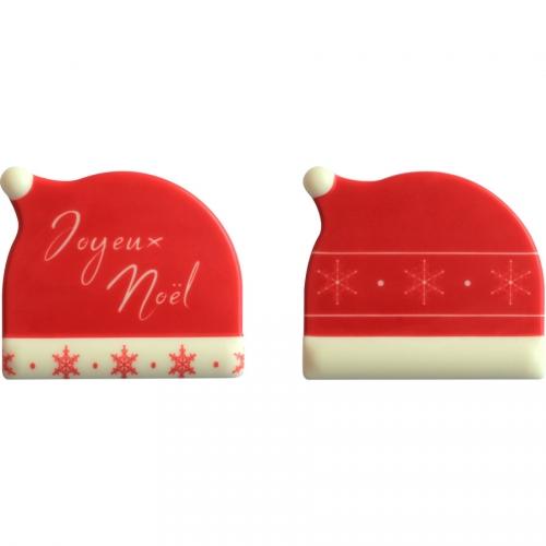 2 Embouts de Bûche Bonnet Joyeux Noël- Chocolat Blanc