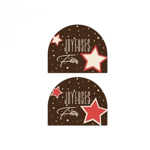 2 Embouts de Bûche Joyeuses Fêtes Etoiles - Chocolat Blanc