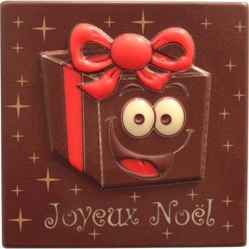 2 Embouts de Bûche Joyeux Noël Cadeau Relief - Chocolat