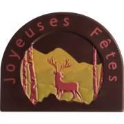 2 Embouts de Bûche Joyeux Noël Cerf Relief - Chocolat Noir