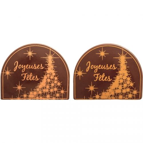 2 Embouts de Bûche Joyeuses Fêtes Sapin Scintillant - Chocolat