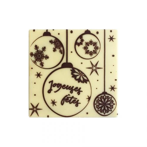 2 Embouts de Bûche Boules de Noë Joyeuses Fêtes - Chocolat Blanc