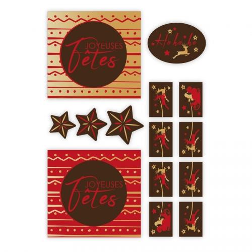 1 Kit Spécial Bûches Joyeuses Fêtes - Chocolat
