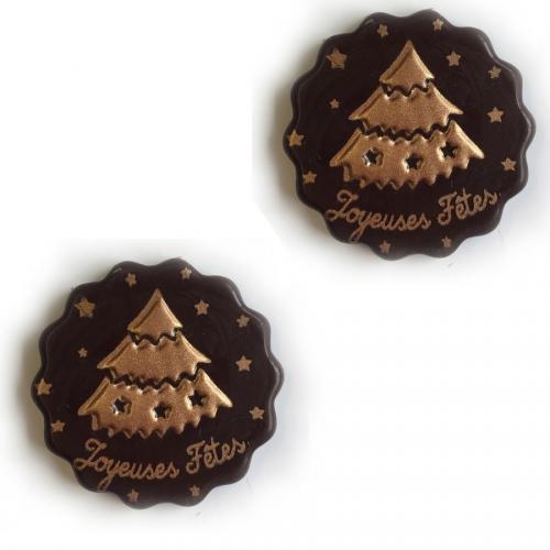 2 Minis Disques Sapin Or Joyeuses Fêtes Relief - Chocolat Blanc