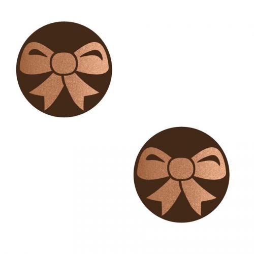 2 Minis Disques Noeud Cuivre - Chocolat Noir