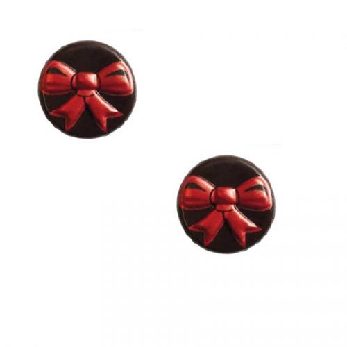 2 Minis Disques Noeud Rouge Relief - Chocolat Noir
