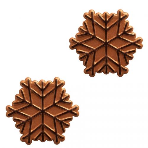 2 Flocons Relief Cuivre - Chocolat